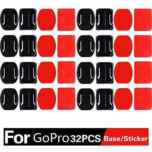ASIV Set 16 supporti adesivi 8 pezzi piatti e 8 curvi con adesivo compatibile con accessori videocamera sportiva Gopro Hero 2 3 3+ 4, Xiaomi Yi SJ4000