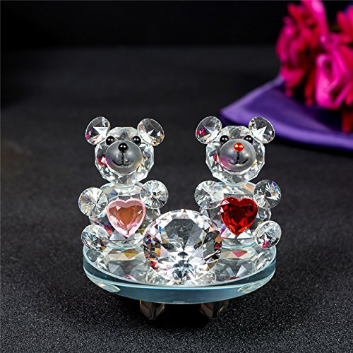 Crystal Glass Heart Shaped Teddy Bears with swarovski crystal elements Wedding Couple Anniversaries Gift Present (7518 Rocking Base)