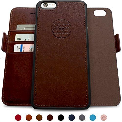 Dreem Fibonacci Brieftasche & Schutz-Hülle für iPhone 6/6s, magnetisch herausnehmbares TPU Case, dünn bruchfest, 2 Standfunktionen, hochwertige synthetische Leder-Tasche, RFID Schutz - Kaffee