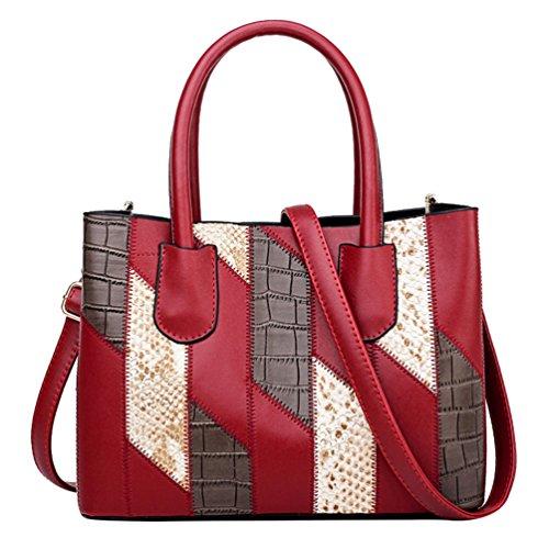 Borsa Da Donna In Pelle Rossa Borsa A Tracolla Classica In Pelle Multicolore Cucita A Mano