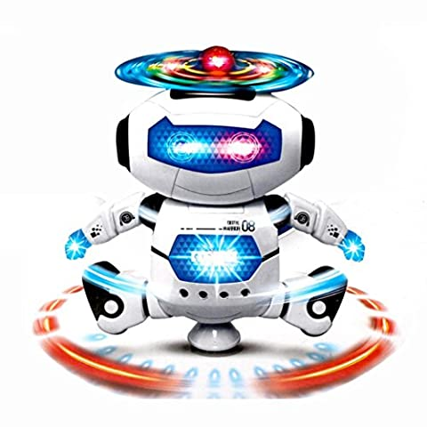 Robot Toy with Music& Light for Kids, Keepwin,Electronic Walking Dancing Smart Space Robot Astronaut Music Light Toy