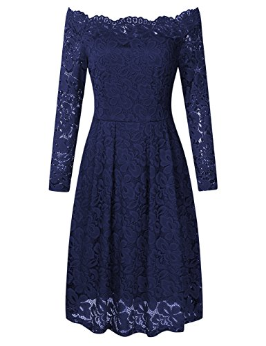 YesFashion Women's Long Sleeve Sexy Straight Collar Dress Elegant Lace V Neck Casual Blue M