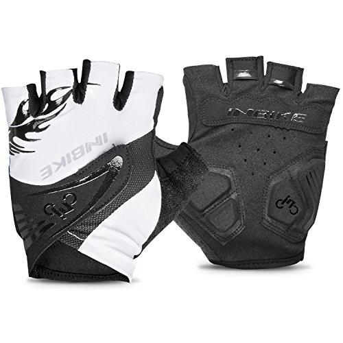 Inbike Herren Fahrradhandschuhe Mit Gel Fingerlos MTB Handschuhe Sommer(Weiß,XL)