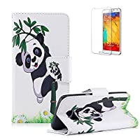 For Samsung Galaxy S6 Edge Case Cover, Funyye Practical Fashionable New 3D Patterns PU Folio Leather Wallet Designer Flip Magnetic [Card Holder Slot] Shock Absorber Full Body Protection Holster Case Cover Skin Shell for Samsung Galaxy S6 Edge-Panda Bamboo
