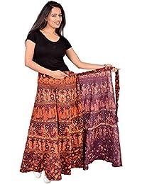 Jaipur Skirt Women's Traditional And Stylish Cotton Jaipuri Printed Wraparound Skirt (MJBW00537_Free Size, Brown...