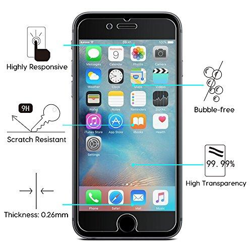 [2 Stück] OMOTON Panzerglas Displayschutzfolie für iPhone 6s und iPhone 6, 9H Härte, Anti-Kratzen, Anti-Öl, Anti-Bläschen, lebenslange Garantie - 2