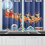 JINCAII Babbo Natale in Sella alla Sua Slitta trainata da Renne Tende da Cucina Tende per Tende da Finestra per caffè, Bagno, Lavanderia, Soggiorno Camera da Letto 26 x 39 Pollici 2 Pezzi