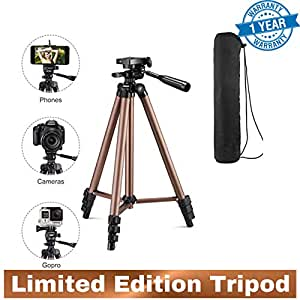 Easezap™ Premium Camera Tripod with Rocker Arm for Canon Nikon Sony DSLR Camera with Free Carrying Bag 127 Cms