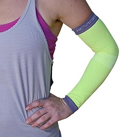Manches Arm Compression - pour hommes, femmes et à la jeunesse - BeVisible Sport - Support pour Tennis Elbow, les golfeurs Elbow, tendinite, Haltérophilie, puissance de levage, Crossfit, Football, Basket-ball, de base-ball, golf, vélo, Courir , volley-ball et d'athlétisme - protège des rayons UV, Sun & Scratches - STIMULE la circulation et aide à la récupération après l'exercice - 1 Paire - Satisfaction Garantie (Vert, Grand)