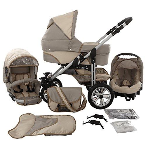 Chilly Kids Matrix Lancer Kinderwagen Komplettset (Autositz, Regenschutz, Moskitonetz, Schwenkräder) 02 Sand & Cream