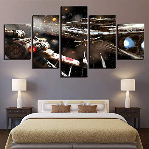 Painting For Living Room Home Decor Hd Prints 5 PiecesPoster Movie Aircraft Pictures Wall Art Framework,16X24/32/40Inch,Without Frame ()