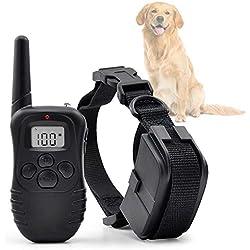 Ociodual Collar de Adiestramiento para Perros Vibracion y Pitido, Antiladridos/Entrenamiento con Mando 300 Metros