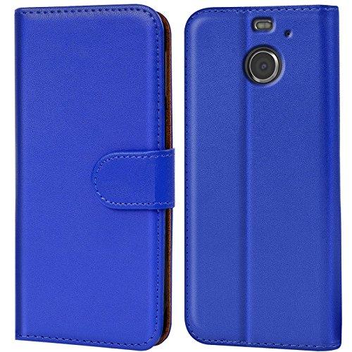 Verco HTC 10 Evo Hülle, Handyhülle für HTC 10 Evo Tasche PU Leder Flip Case Brieftasche - Blau