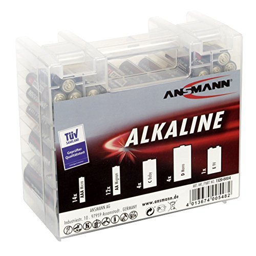 ANSMANN Alkaline Batterie Box 1.5V/Longlife Alkalibatterien/Sparpaket in einer robusten Vorratsbox inkl. 14x Micro AAA 12x Mignon AA 4x Baby C 4x Mono D 1x E-Block 9V/35 Stück