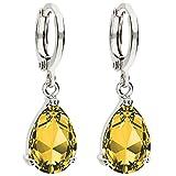 MYA art Damen Creolen Ohrringe Hängend Ohrhänger mit Zirkonia Stein Tropfen Oval Anhänger Silber Citrin Gelb Vergoldet MYAWGOHR-73