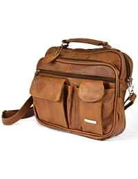 Sac de voyage en cuir avec poignée de transport, sangle d'épaule amovible et poche pour téléphone portable (Marron foncé/noir/caramel).