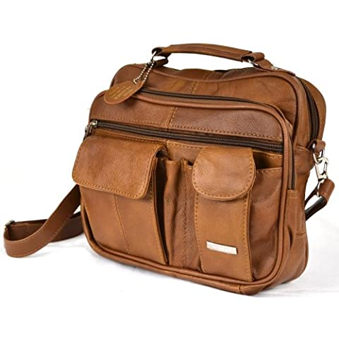 Leather Travel Bag with Carry Handle, Detachable Shoulder Strap and Mobile Phone Pocket ( Tan )