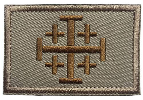 Golden Khaki (spaceauto Jerusalem Kreuz Crusader Bestellung Heiligen Grabes Tactical Moral Kreuz bestickt Patch 8x 5cm C - Khaki & Golden)