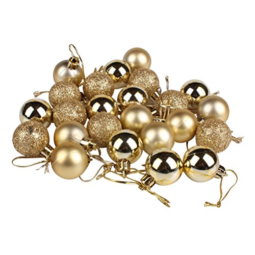 BESTOYARD 24pcs Palline di Natale per Albero di Natale Appeso addobbi Natalizi per casa Giardino in Oro 3CM
