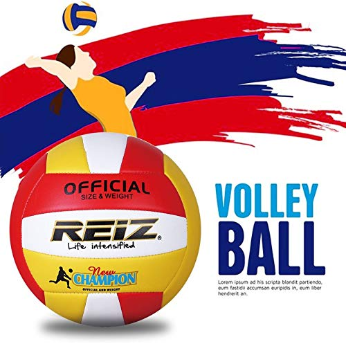 Yaoaomon Reiz PU Volleyball Professional Soft Volleyball Indoor & Outdoor Training Ball red & White & Yellow