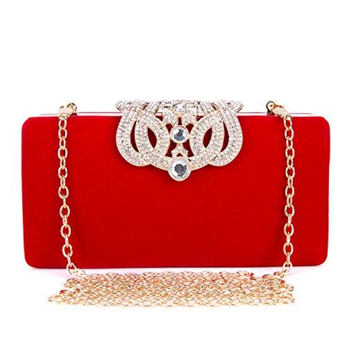 Frauen Glitter Diamant Perlen Handtasche Kissen Geformte Abendtasche Damen Clutch Bag Beutel Kupplung Kettentasche für Nachtklub Partei Hochzeits Vereine - Rot (Kleine Strass-schnallen)