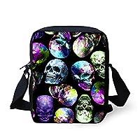 HUGS IDEA Cool Floral Skull Print Small Sling Shoulder Bag Outdoor Travel Sport Casual Messenger Bag Handbags
