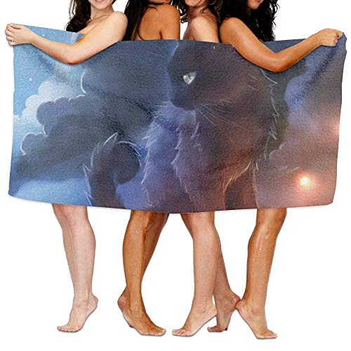 ruishandianqi Strandtücher Handtücher Cat Warrior Bath Towel Adult Microfiber Towel 31 X 51 Inch Bath Sheet
