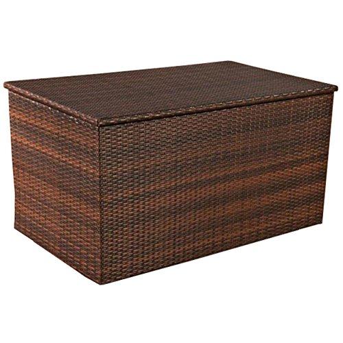 Mendler Auflagenbox, Kissenbox, Gartentruhe L, Polyrattan ~ braun-meliert
