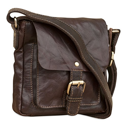 Brunhide # 143-300 - Mini borsa satchel con tracolla tracolla donna - chiusura magnetica con fibbia finta - vera pelle di bufalo Marrone scuro