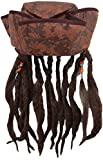 Caribbean Jack Sparrow Fancy Dress Hat With Hair & Beads
