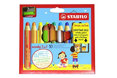 STABILO woody UK2/xm-880102multi-talented matita in pelle con temperino e stencil-multicolore (confezione da 10)