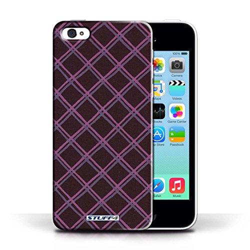 iCHOOSE Print Motif Coque de protection Case / Plastique manchon de telephone Coque pour Apple iPhone 5C / Collection Motif Entrecroisé / Orange Violet/Noir
