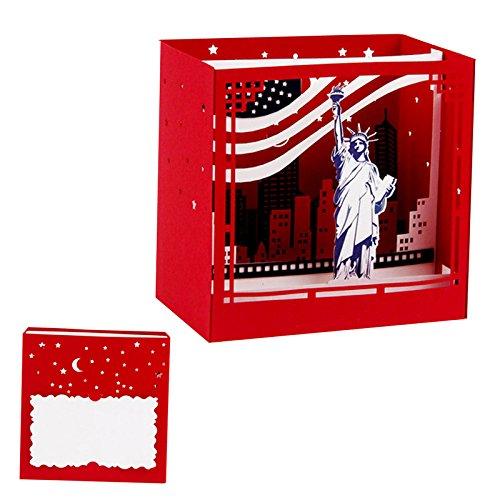 Kofun Vatertag Geschenke, Grusskarten Muttertag Vatertag Handmade 3D Pop Up New York Grußkarte Weihnachten Geburtstag Valentine Einladung Heiratsantrag Karte 10.5x10.5x7 cm (Halloween Guten New Tag York)