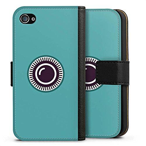 Apple iPhone X Silikon Hülle Case Schutzhülle Kamera Auge Symbol Sideflip Tasche schwarz