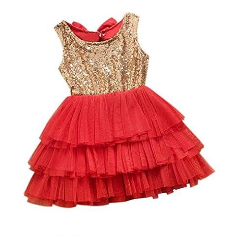 Bekleidung Longra Baby Mädchen Kinder Weihnachten Party roten Pailletten Tutu Kleider Weihnachtsgeschenk Kleide(1-6 Jahre) (100cm 2-3 Jahre) (90CM 12Monate, Red)