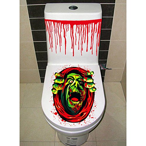 Halloween Gruesome Bathroom Coprisedile e Cistern Adesivo Closestool Cover Party Decoration Les hommes de la têt