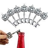 Makhry 50 Stücke Hochzeit Geschenk Souvenir Set Kissen Pralinenschachtel Vintage Skelett Schlüssel Flaschenöffner Escort Danke Tag Französisch Band(Silber) - 3