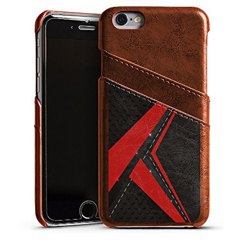 Apple iPhone 5s Housse Outdoor Étui militaire Coque Carbone Noble Homme Étui en cuir marron