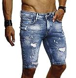 LEIF NELSON Herren Jeans Shorts Sommer Jogger Kurze Hose Jeanshose Chinos Cargo Bermuda Stretch Slim Fit LN9310; W33; Blau