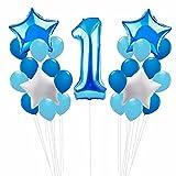 Zcoins Dekoration Erster Geburtstag für Jungen, 100 cm Nummer 1 Riesenfolie Ballon, 30cm Latex Ballons 30pcs, Star Foil Ballons 4st