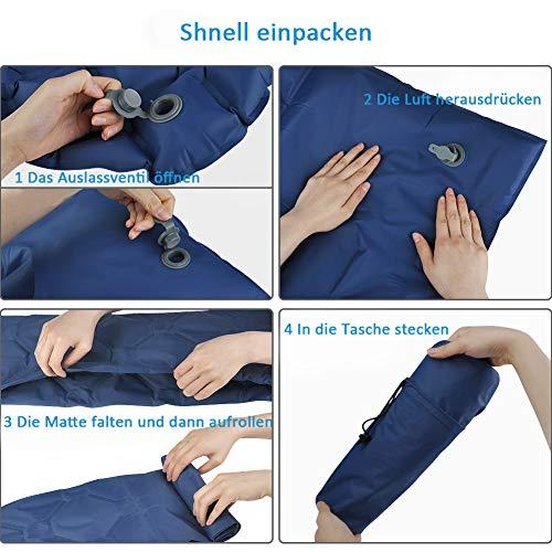 GEEDIAR Isomatte Camping aufblasbare Luftmatte mit Kissen 190x59x6 cm Farbe dunkel blau, ultraleicht tragbare Luftmatratze für Camping Ausflug Deppel Zelt inkl. kleinem Packsack - 9