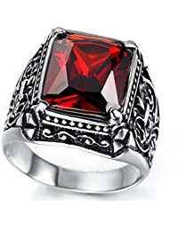Mens Stainless Steel Ring, Vintage, Red, Crystal KR2019