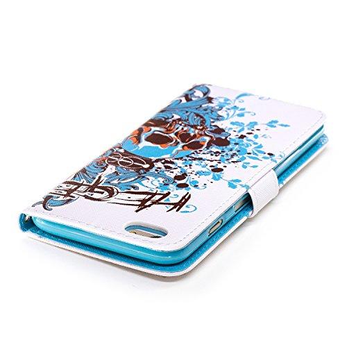 Coque Housse Etui iPhone 6S Plus Cuir PU - Aeeque® Coque à Rabat Fonction Portefeuille de Carte Slots Support Bouton Magnétique Case Housse Cover Coque iPhone 6 Plus / 6S Plus 5.5 pouce [Plumes de Cam Motif #16