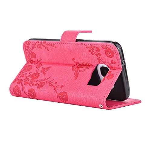 Ecoway Case / Cover / Phone Case / Case pour iPhone 7G / 7,incrusté motif de diamant Bling Crystal Glitter Strass gaufrage design Folio PU Housse en cuir dans le livre de style avec support fonctionne Rose Rouge