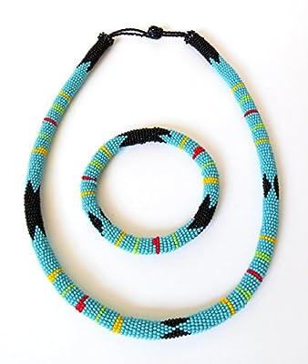 Parure collier et bracelet en perles Sud Africain Zoulou - Bleu