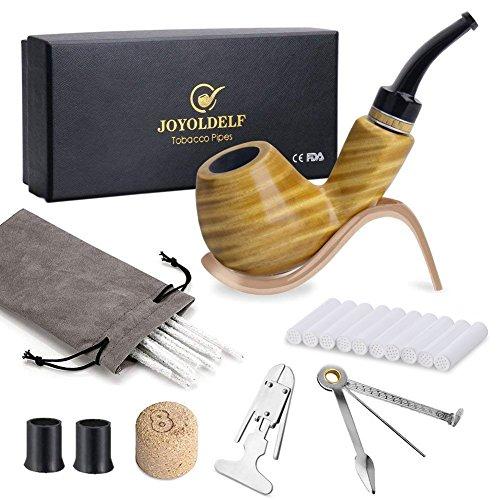 Set di pipa in legno per tabacco, pipa fatto a mano con supporto per pipa in acciaio inox, strumento di pulizia e altri accessori