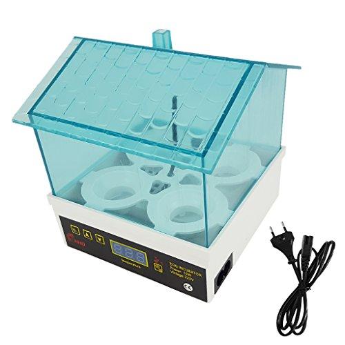 Homyl Mini Inkubator Vollautomatische Brutmaschine Motorbrüter Hühner Brutapparat mit eingebautem Turbinenventilator und Temperaturanzeige für 4 Eier