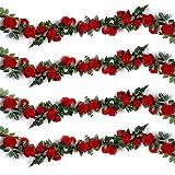 Ruiuzi Rose Artificielle Vignes Faux Fleurs De Soie Rose Guirlandes Suspendues Rose Lierre Plantes pour Mariage Maison Arche Arrangement Décoration (10 Fleurs - Rouge, 2pcs)