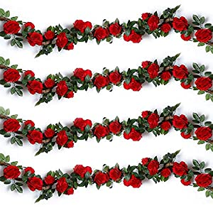 Ksnrang – Guirnaldas de rosas de seda artificiales – Plantas decorativas colgantes para bodas, celebraciones, hogar…
