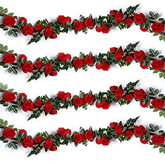 Ksnrang – Guirnaldas de Rosas Artificiales de Seda para Colgar en Bodas, hogar, Oficina, Arco, decoración, Rosa, 2 Unidades